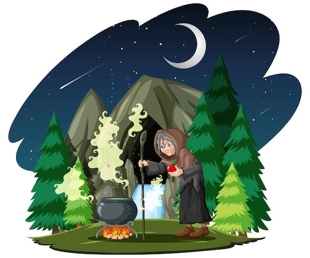 Zauberer oder hexe mit zaubertopf auf dunklem wald Kostenlosen Vektoren