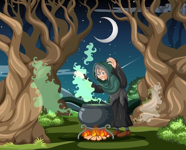 Zauberer oder hexe mit zaubertopf auf dunklem wald Premium Vektoren