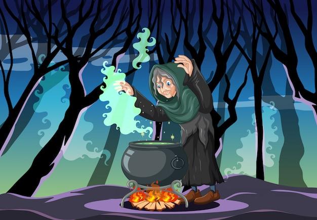Zauberer oder hexe mit zaubertopf auf dunkler waldszene Kostenlosen Vektoren