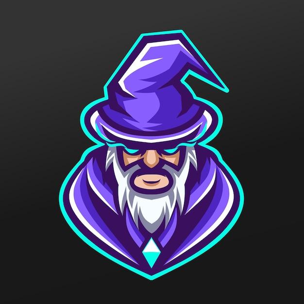 Zauberer vater hexe maskottchen sport illustration design für logo esport gaming team squad Premium Vektoren