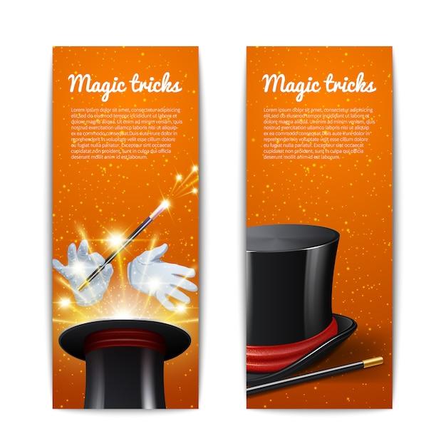 Zaubertrick vertikale banner gesetzt Kostenlosen Vektoren