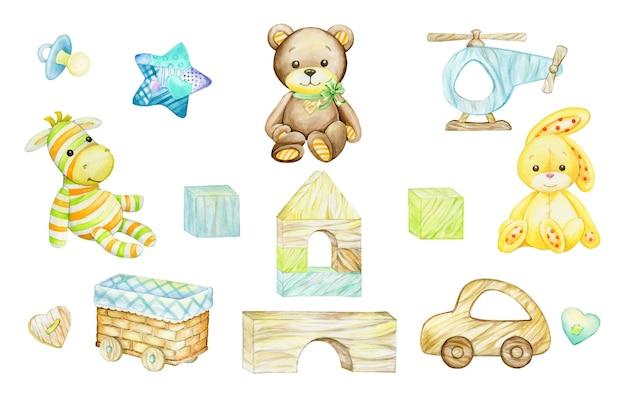 Zebra, bär, kaninchen, holzspielzeug. aquarellclipart, im karikaturstil, auf einem isolierten hintergrund. für kinderpostkarten und feiertage. Premium Vektoren