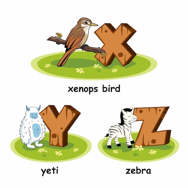 Zebra yeti xenops vogel holz alphabet tiere Premium Vektoren