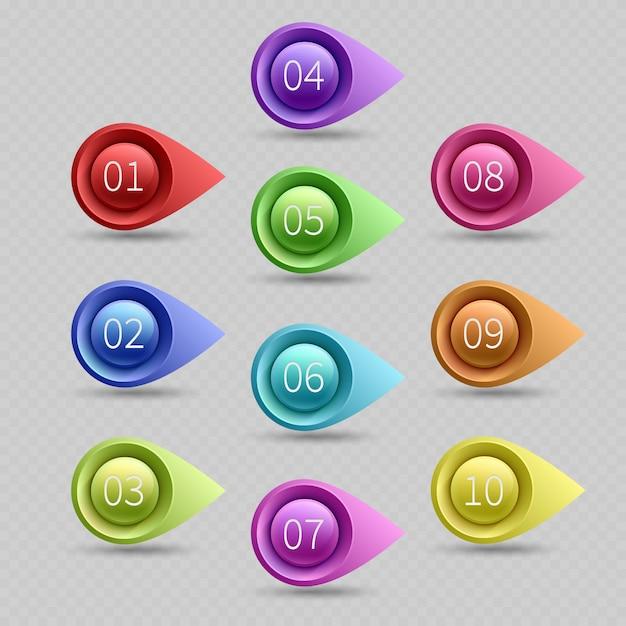 Zehn farbkugelpunkte mit zahlenvektorsammlung. illustration des netzkugelpunktpfeiles Premium Vektoren