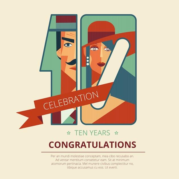 Zehn Jahre Jubiläum Glückwünsche Grußkartenvorlage