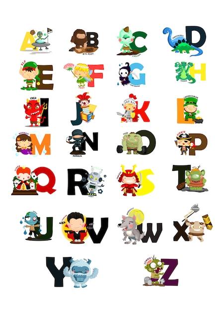 Zeichen-alphabet-bildsatz Premium Vektoren