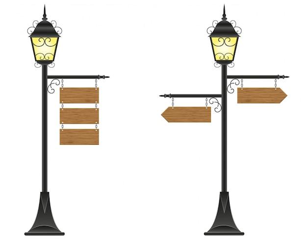 Zeichen der hölzernen bretter, die an einer straßenbeleuchtungsvektorillustration hängen Premium Vektoren
