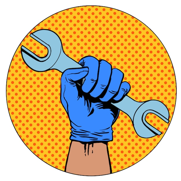 Zeichen der reparaturhand schlüsselsymbolpiktogramm halten Premium Vektoren