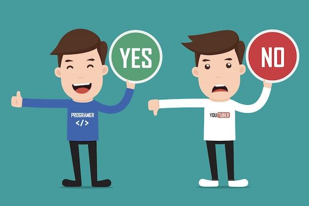Zeichen mit ja oder nein. Premium Vektoren
