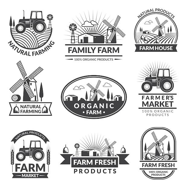 Zeichen und kennsätze für bauernhofmarkt. monochrome etiketten mit platz für ihren text gesetzt Premium Vektoren