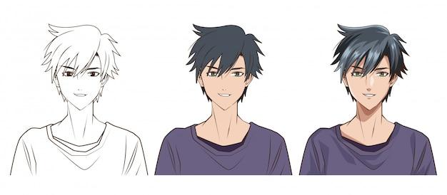 Zeichenprozess des anime-artcharaktervektor-illustrationsdesigns des jungen mannes Premium Vektoren