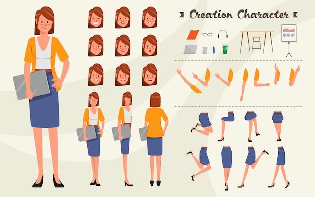Zeichensatz für animation. junger geschäftsfraucharakter für belebt mit gefühlgesicht. Premium Vektoren