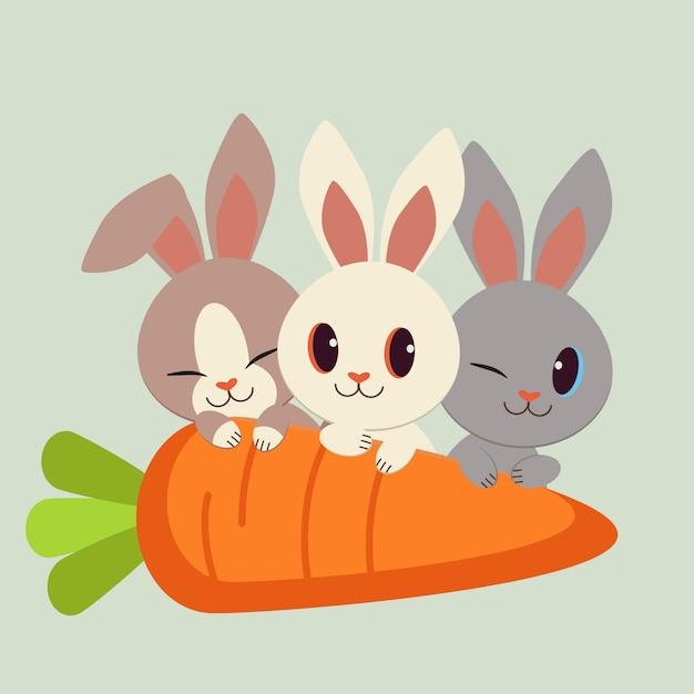 Zeichensatz von niedlichen kaninchen mit einer großen karotte. Premium Vektoren