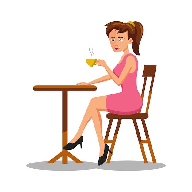 Zeichentrickfigur der frau, die kaffee trinkt Premium Vektoren