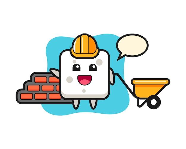 Zeichentrickfigur des zuckerwürfels als baumeister, niedlicher stil für t-shirt, aufkleber, logoelement Premium Vektoren