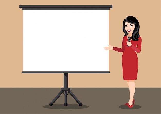 Zeichentrickfigur mit geschäftsfrau bei einer präsentation. flaches symbol Premium Vektoren