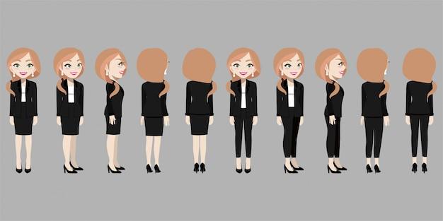 Zeichentrickfigur mit geschäftsfrau im anzug für animation. Premium Vektoren