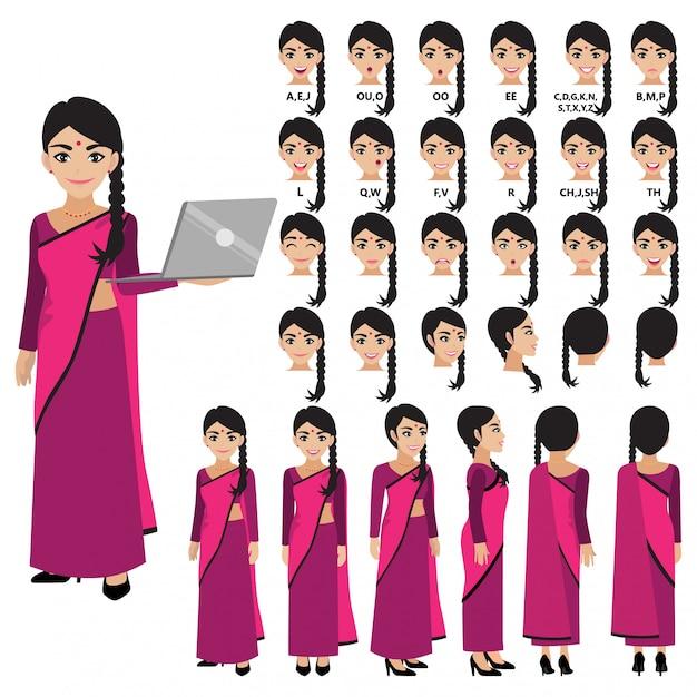 Zeichentrickfigur mit indischer geschäftsfrau im sari-kleid für animation. vorderseite, seite, rückseite, 3-4 ansichtscharakter. körperteile trennen. flache illustration. Premium Vektoren