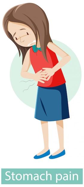 Zeichentrickfigur mit magenschmerzsymptomen Kostenlosen Vektoren