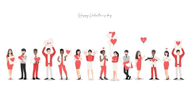 Zeichentrickfigur mit personengruppe, die herzen hält. valentinstag festival. Premium Vektoren