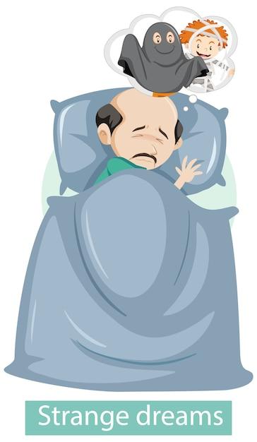 Zeichentrickfigur mit seltsamen traumsymptomen Kostenlosen Vektoren