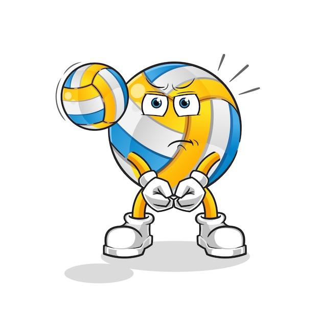 Zeichentrickfigur volleyball-service Premium Vektoren