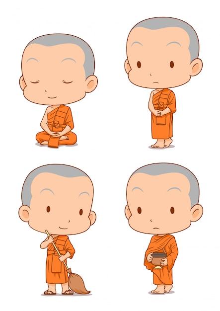 Zeichentrickfigur von buddhistischen mönchen in verschiedenen posen. Premium Vektoren