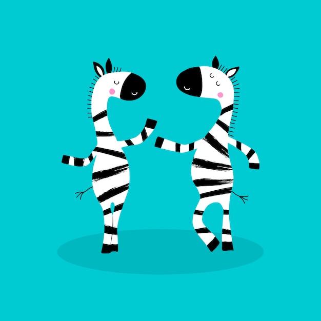 Zeichentrickfigur zebras. Premium Vektoren