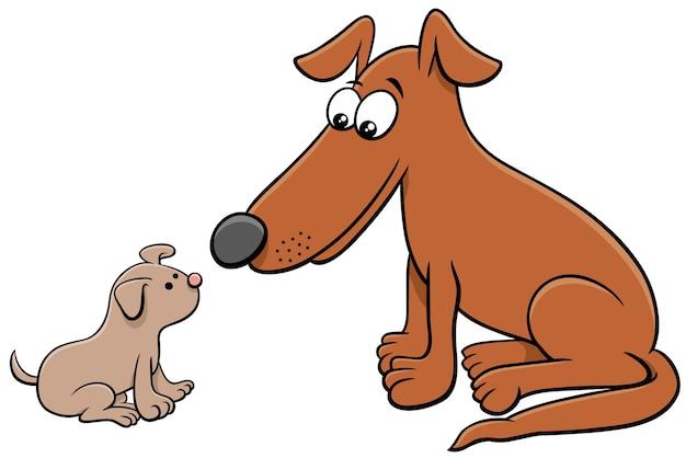 Zeichentrickfiguren für welpen und erwachsene hunde Premium Vektoren