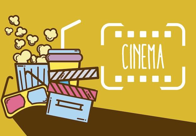 Zeichentrickfilm-elementdesign des kinos niedliche Premium Vektoren