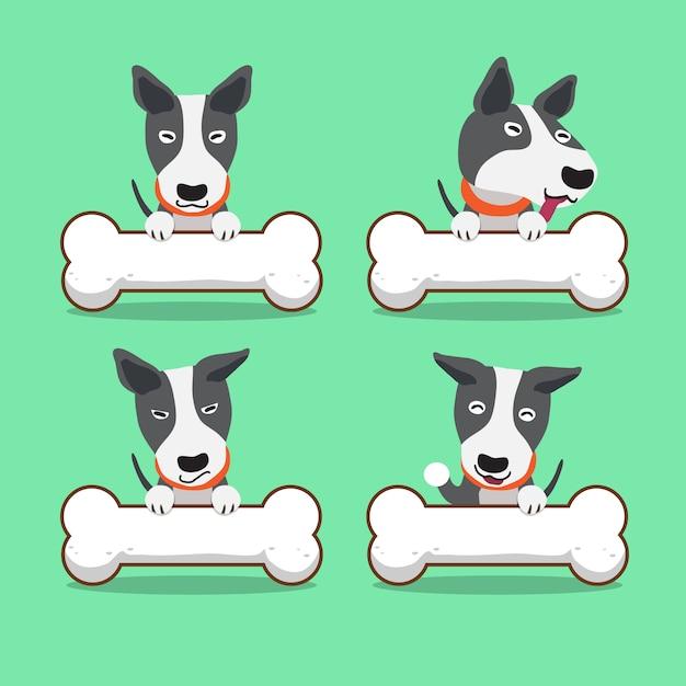 Zeichentrickfilm-figur-bullterrierhund mit den großen knochen Premium Vektoren