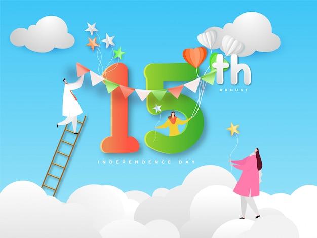 Zeichentrickfilm-figur der leute, die idian happy independence-fahne feiern Premium Vektoren