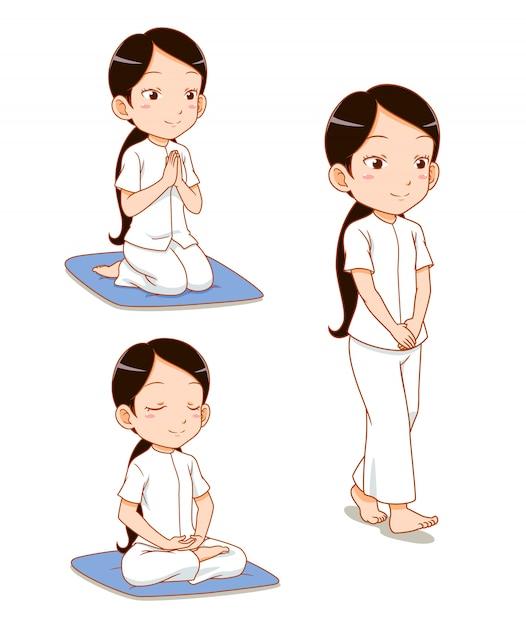 Zeichentrickfilm-figur des meditierenden mädchens, beobachten buddhistische gebote. Premium Vektoren
