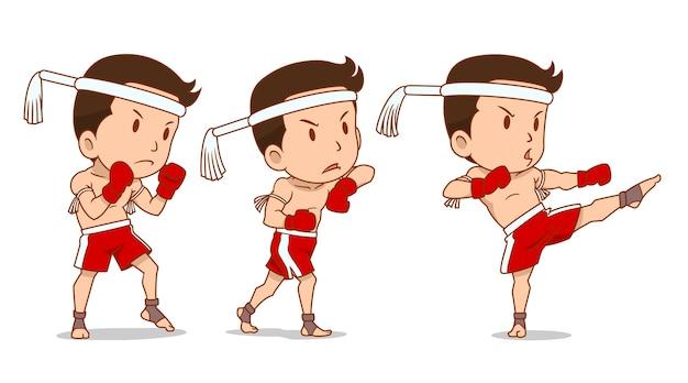 Zeichentrickfilm-figur des netten thailändischen boxers muay. Premium Vektoren