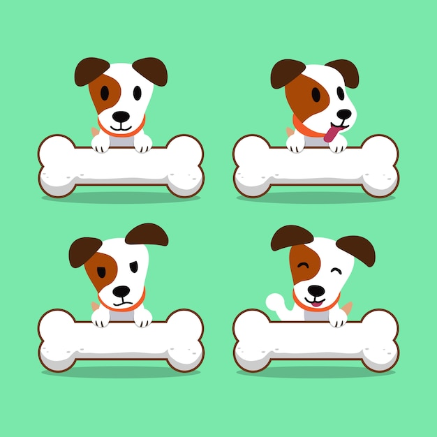 Zeichentrickfilm-figur jack russell terrier hund mit großen knochen Premium Vektoren