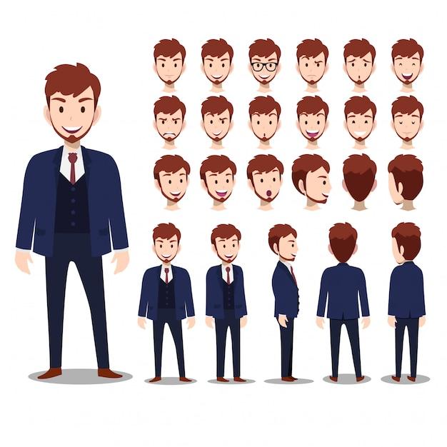 Zeichentrickfilm-figur mit geschäftsmann in der klage für animation Premium Vektoren