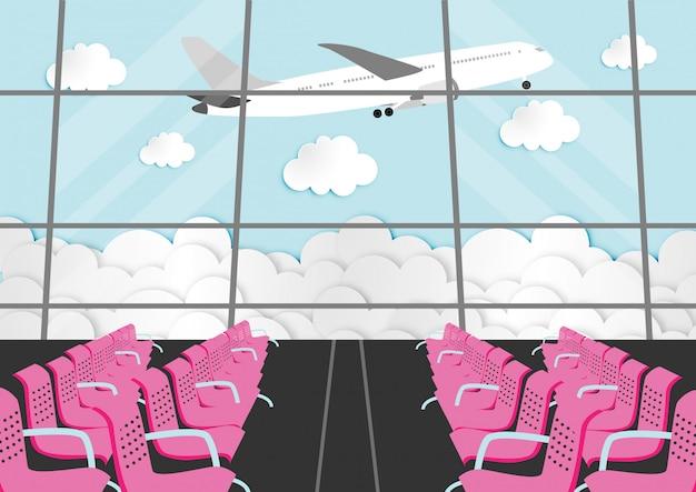 Zeichentrickfilm-figur mit passagierraum im flughafenabfertigungsgebäude Premium Vektoren