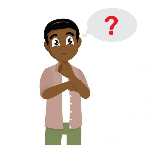 Zeichentrickfilm-figur wirft, afrikanisches manndenken auf. fragezeichen-symbol in gedankenblase Premium Vektoren