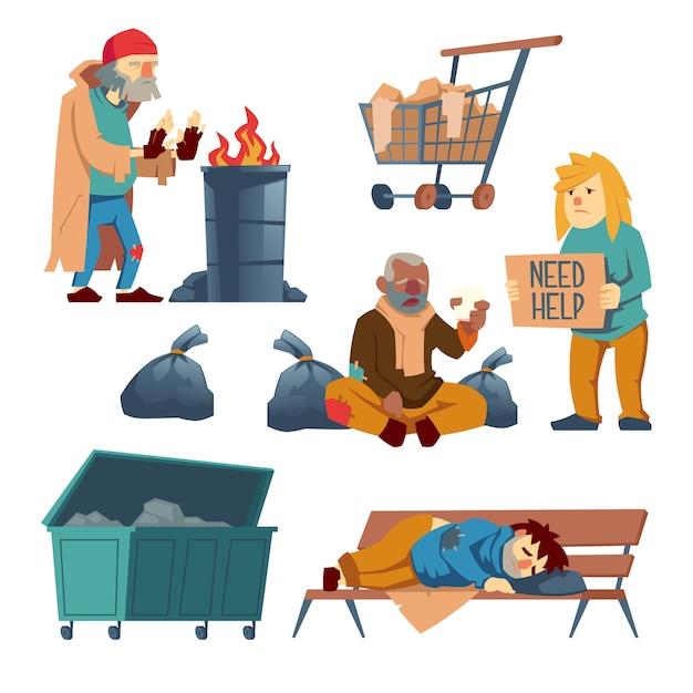 Zeichentrickfilm-figuren des obdachlosen stellten lokalisiert auf weiß ein Kostenlosen Vektoren