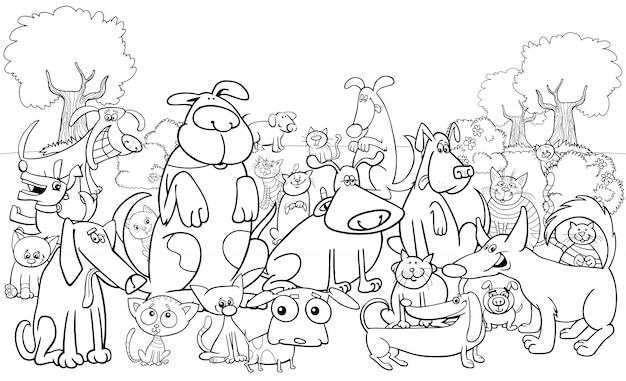 Zeichentrickfilm Hund und Katzen Zeichen Farbbuch | Download der ...