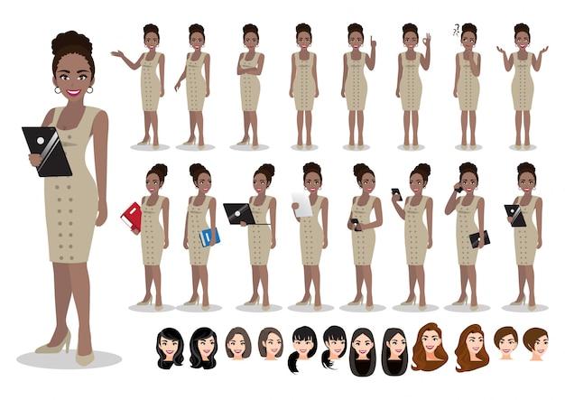 Zeichentrickfilm-zeichensatz der amerikanischen afrikanischen geschäftsfrau. schöne geschäftsfrau im büroartschickkleid. illustration Premium Vektoren