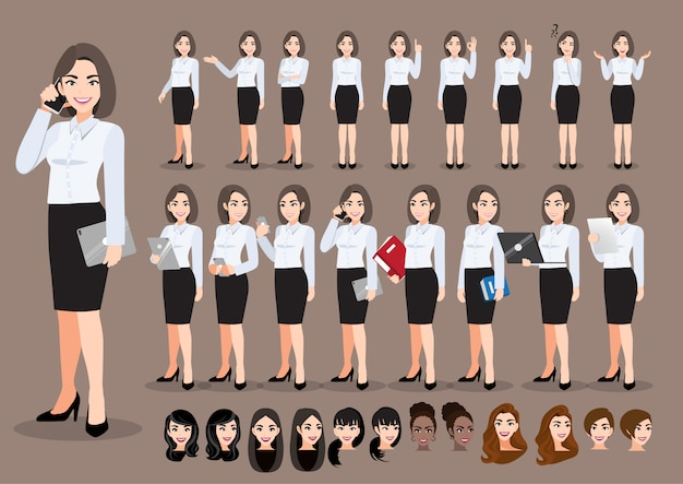 Zeichentrickfilm-zeichensatz der geschäftsfrau. schöne geschäftsfrau im büroartschattenhemd. illustration Premium Vektoren