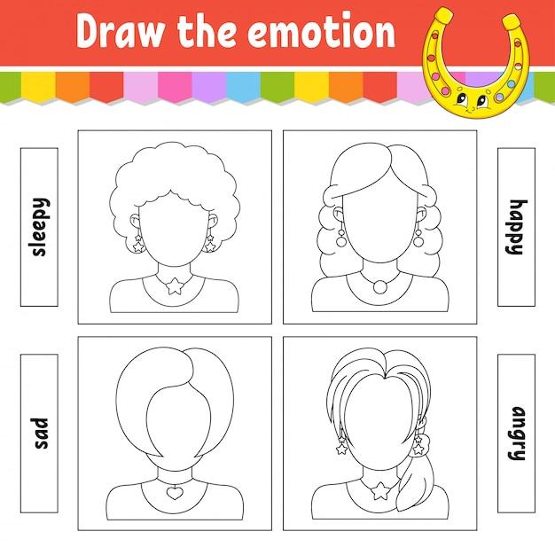 Zeichne die emotionen. arbeitsblatt vervollständigen das gesicht. malbuch für kinder. Premium Vektoren