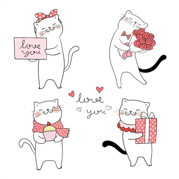 Zeichne eine süße katze zum valentinstag. Premium Vektoren