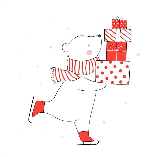 Zeichnen sie bär auf eislauf und halten sie geschenke im schnee für weihnachten. Premium Vektoren