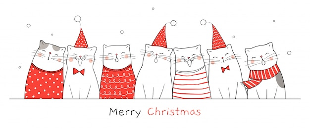 Zeichnen sie banner happy cat für weihnachten und neujahr. Premium Vektoren