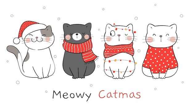 Zeichnen sie banner katze für winter und weihnachten. Premium Vektoren