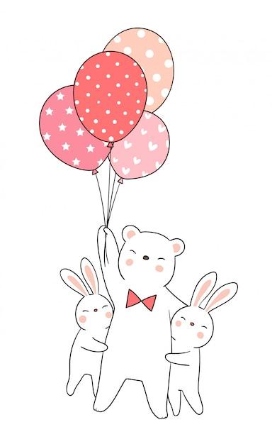 Zeichnen sie den kaninchenumarmungsbären, der ballon hält. Premium Vektoren