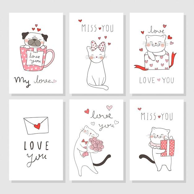 Zeichnen sie eine grußkarte für den valentinstag mit katze und mops. Premium Vektoren