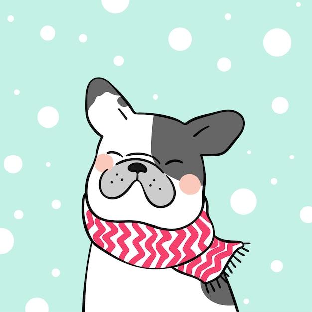 Zeichnen Sie Französische Bulldogge Im Schnee Für Wintersaison